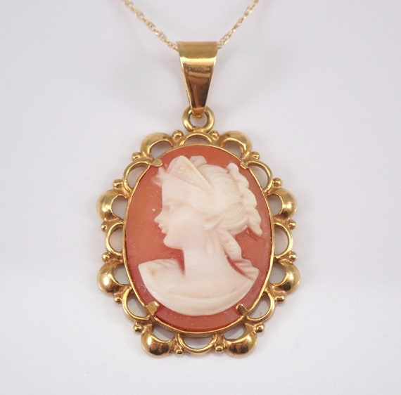 "Antique Vintage 18K Yellow Gold Cameo Victorian Pendant Necklace 18"" Chain"