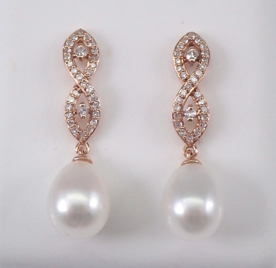 Pearl and Diamond Dangle Drop Earrings 14K Rose Gold June Birthstone Wedding