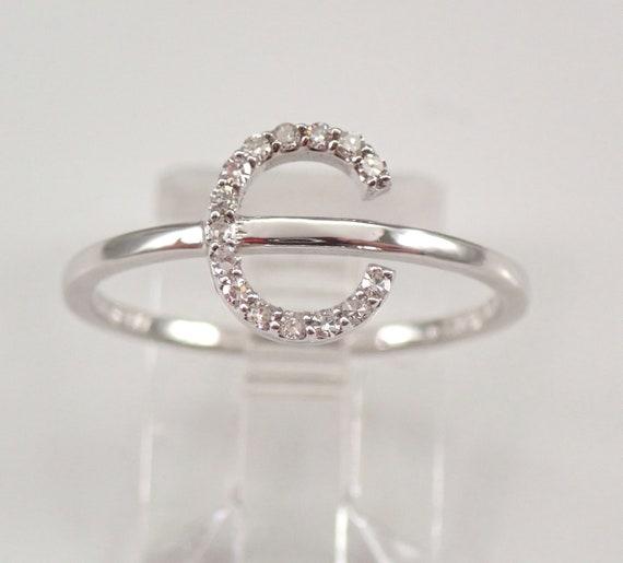 White Gold Diamond INITIAL C Ring Size 7.25 Best Friend Gift Graduation Sweet 16