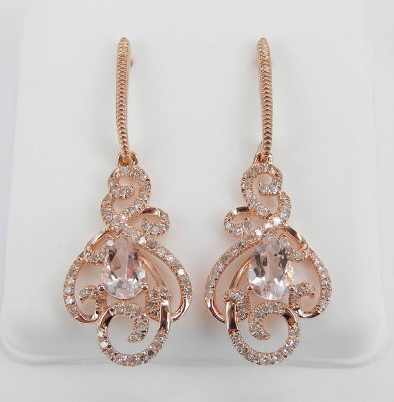 Morganite and Diamond Dangle Drop Earrings Rose Pink Gold Unique Gemstone Gift