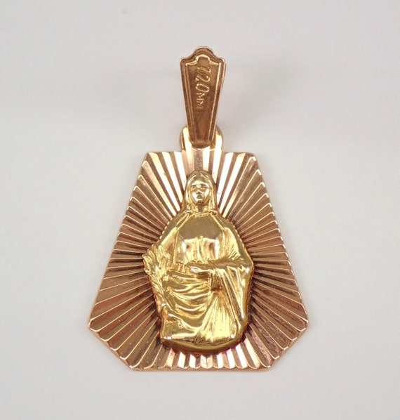 Vintage 18K Rose and Yellow Gold Virgin Mary Pendant Religious Metal Charm