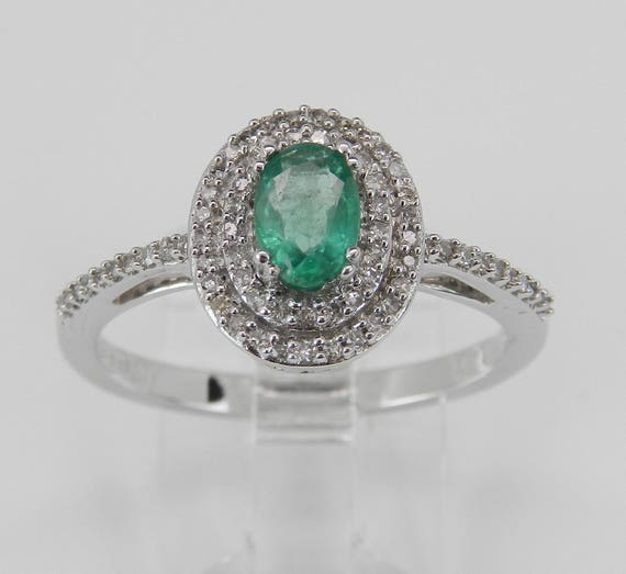 Emerald Halo Ring, Diamond and Emerald Ring, Double Halo Engagement Ring, White Gold Gemstone Ring, May Birthstone