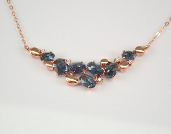 "Rose Gold London Blue Topaz and Diamond Necklace 17"" Chain December Birthstone"