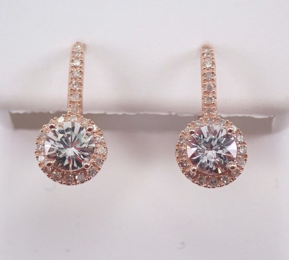 White Sapphire and Diamond Halo Earrings Rose Gold Drop Gemstone Leverback Clasps