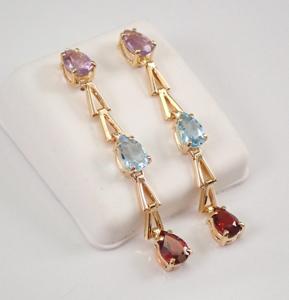 Vintage 14K Yellow Gold Amethyst Blue Topaz and Garnet Dangle Drop Earrings 4 carats
