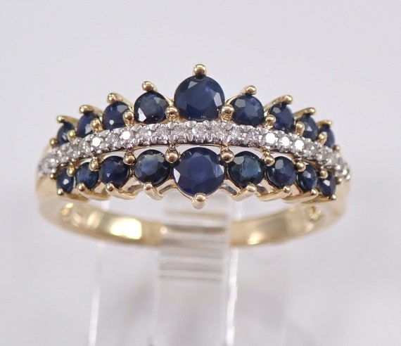 Diamond and Sapphire Wedding Ring Anniversary Band Yellow Gold Size 7 September FREE Sizing
