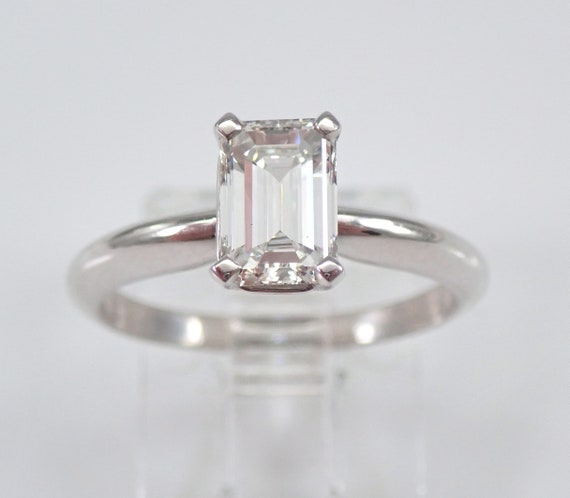 PLATINUM Emerald Cut SOLITAIRE Diamond Engagement Ring GIA Report Size 5.5 G VS2