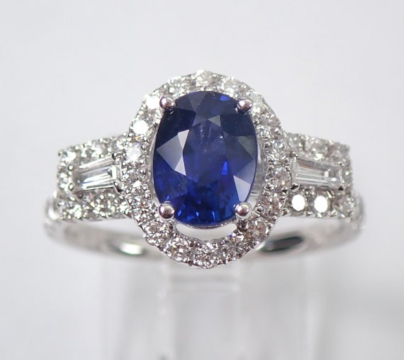 18K White Gold Diamond and Sapphire Halo Engagement Ring Size 7 September Gemstone Something Blue FREE Sizing