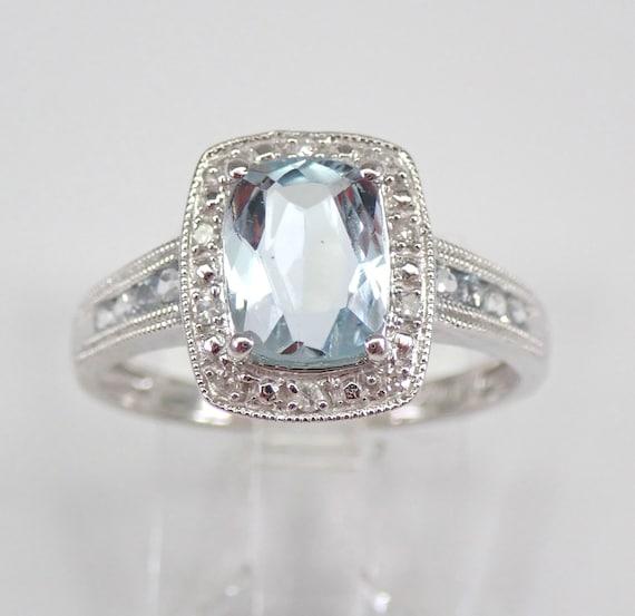 White Gold Diamond and Cushion Cut Aquamarine Halo Engagement Ring Size 6.75 Aqua March Birthstone Free Sizing