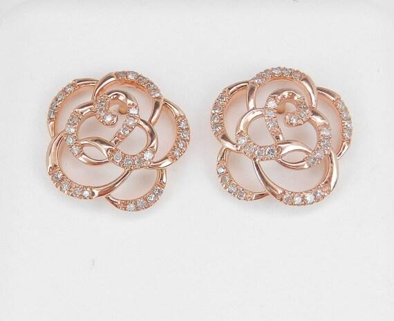 Diamond Stud Earrings Flower Studs 14K Rose Pink Gold Wedding Gift Earrings