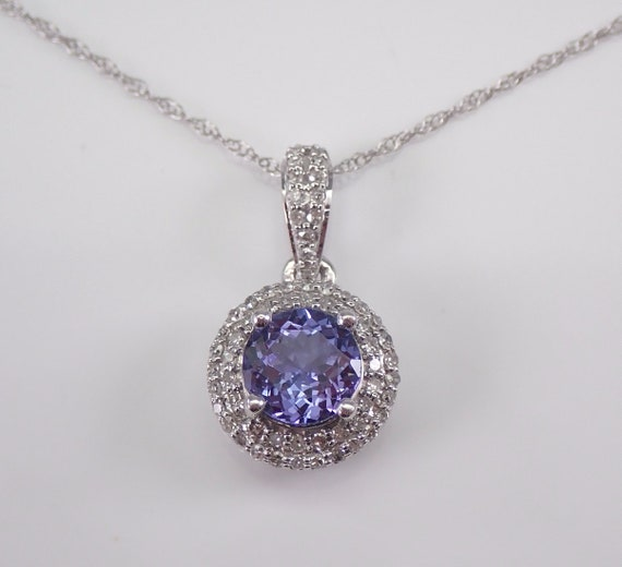"Diamond and Tanzanite Halo Pendant Necklace 14K White Gold 18"" Chain Purple Gemstone"