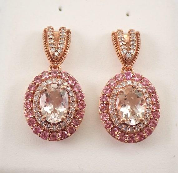 Morganite Pink Tourmaline Diamond Double Halo Drop Earrings Rose Gold GREAT GIFT!