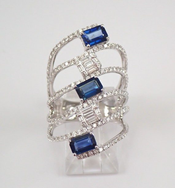 HUGE 18K White Gold 3.55 ct Diamond and Sapphire Multi Row Crossover Ring Size 7 FREE Sizing