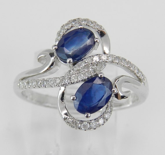 Diamond and Sapphire Ring, 14K White Gold 1.30 ct Diamond and Sapphire Cocktail Bypass Right Hand Ring Size 6.75 FREE Sizing