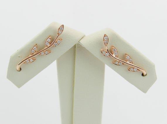 Diamond Ear Climber Earrings Crawler Leaf Bar Rose Gold Modern Wedding Gift