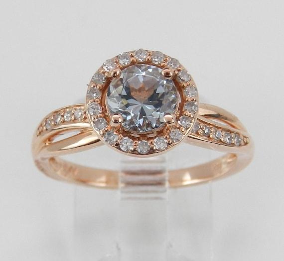 Aquamarine and Diamond Halo Engagement Ring Aqua 14K Rose Gold Size 7 March Gem