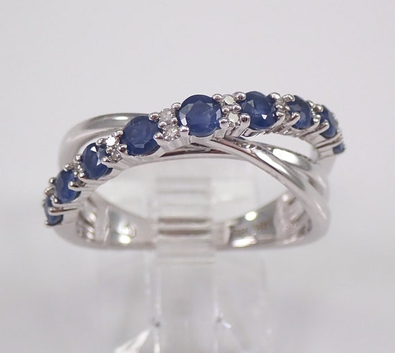 Sapphire and Diamond Ring, 14K White Gold Sapphire Anniversary Band, Multi Row Ring, Crossover Ring, September Birthstone
