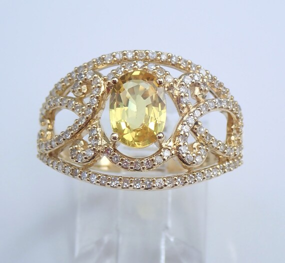 Yellow Sapphire and Diamond Engagement Ring Yellow Gold Size 7 Wide Band FREE Sizing