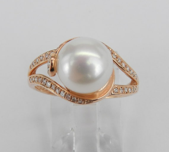 Diamond and Pearl Engagement Ring Promise 14K Rose Gold Size 7 June Gemstone