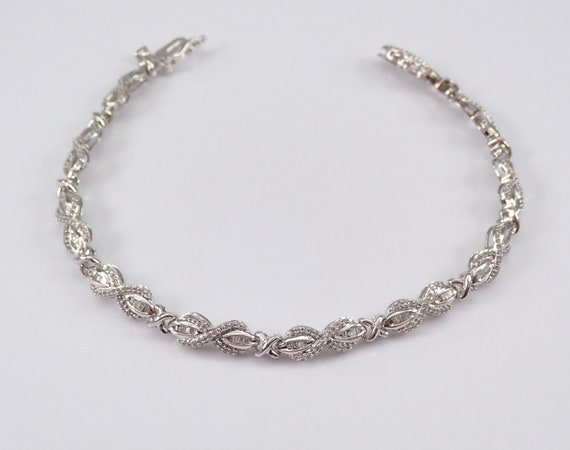 White Gold Diamond Statement Bracelet Tennis Bracelet Great Gift