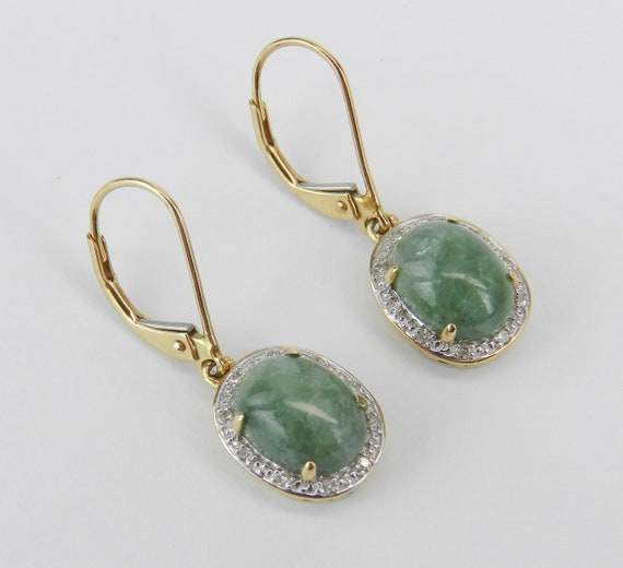 14K Yellow Gold Jade and Diamond Halo Drop Earrings Leverback Unique Gift