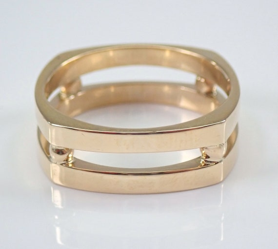 Men's 14K Yellow Gold SQUARE Wedding Ring Anniversary Band Unisex Size 9