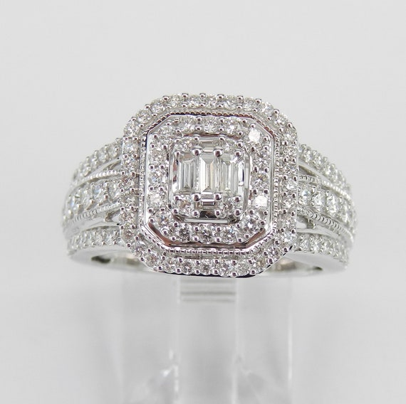 14K White Gold Diamond Engagement Ring Emerald Cut Double Halo Cluster Cocktail Size 7