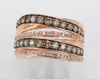 1.00 ct Fancy Cognac Diamond Crossover Ring Multi Row Rose Gold Band Size 7
