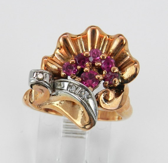 Antique Ruby Ring, Retro Diamond and Ruby Ring, Ruby Statement Ring, Size 5.5, Circa 1940's, 14K Rose Gold Vintage Ruby Ring