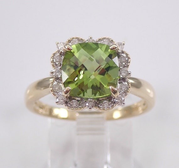 Cushion Cut Peridot and Diamond Halo Engagement Ring Yellow Gold Size 7 August Birthstone FREE Sizing
