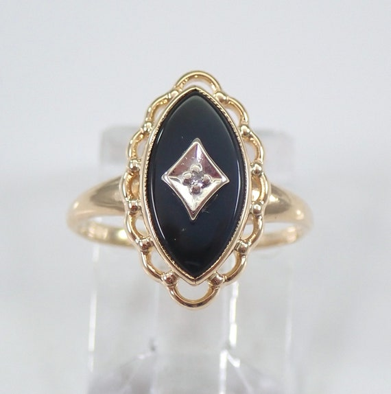 14K Yellow Gold Antique Vintage Onyx and Diamond Ring Circa 1930's Pinky Ring