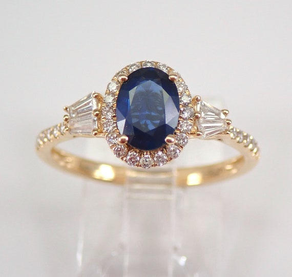 14K Yellow Gold Diamond and Sapphire Halo Engagement Ring Size 7 Something Blue FREE Sizing