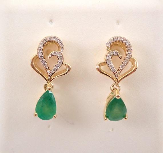 Yellow Gold Emerald and Diamond Dangle Teardrop Earrings May Birthstone