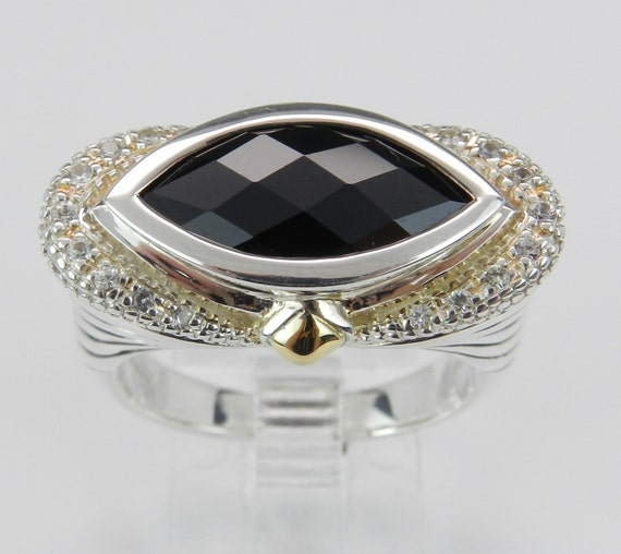 SALE PRICE! Marquise Onyx White Sapphire Ladies Ring Sterling Silver 18K Yellow Gold Size 7 FREE Sizing
