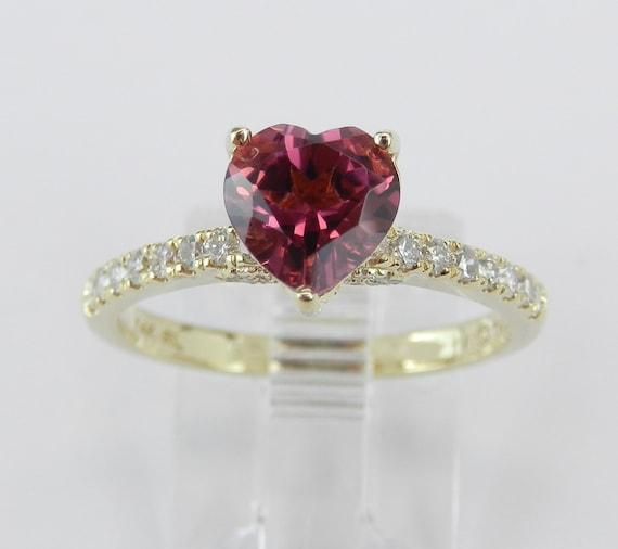 Pink Tourmaline and Diamond Heart Engagement Ring 14K Yellow Gold Size 7