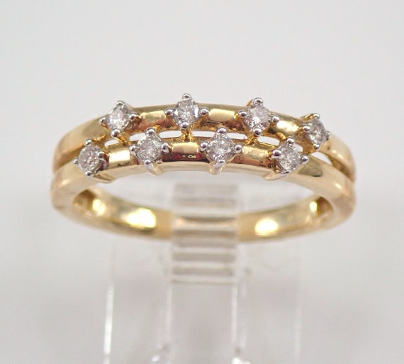 Diamond Wedding Ring Anniversary Band Yellow Gold Stackable Size 7 FREE SHIPPING