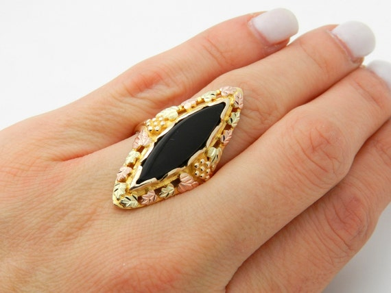 Vintage Onyx Ring, Antique Onyx Ring, Yellow Gold Onyx Ring, Black Onyx Ring, Tri Color Gold Ring, Marquise Onyx, Size 8.25