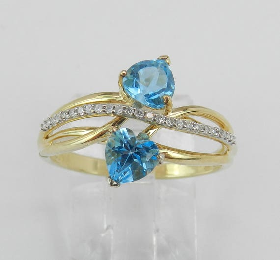 SALE PRICE! 14K Yellow Gold Diamond and Heart Blue Topaz Bypass Ring Size 7 December Birthstone FREE Sizing