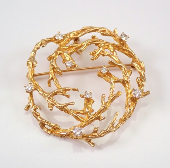 Vintage Antique 14K Yellow Gold Diamond Brooch Pin Pendant 1970's G VS