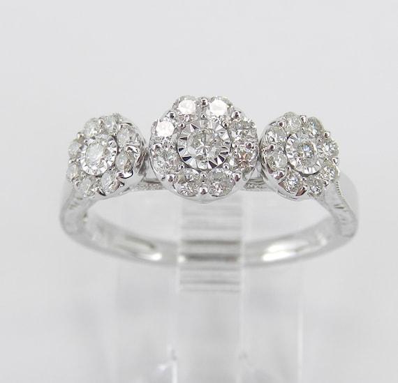 White Gold Diamond Cluster Three Stone Engagement Ring Size 8 Flower Band FREE Sizing