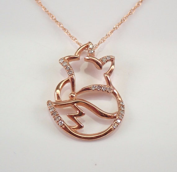 "Rose Gold Diamond FOX Foxy Pendant Necklace Chain 18"" Unique Design"