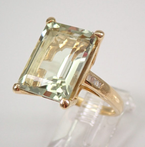 Green Amethyst and Diamond Engagement Ring Emerald-Cut Solitaire Yellow Gold Size 7