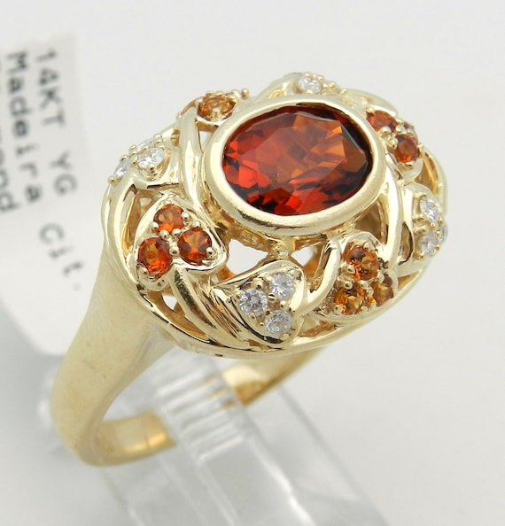 Diamond and Madeira Orange Citrine Ring Cocktail Halo Ring 14K Yellow Gold Size 9.25