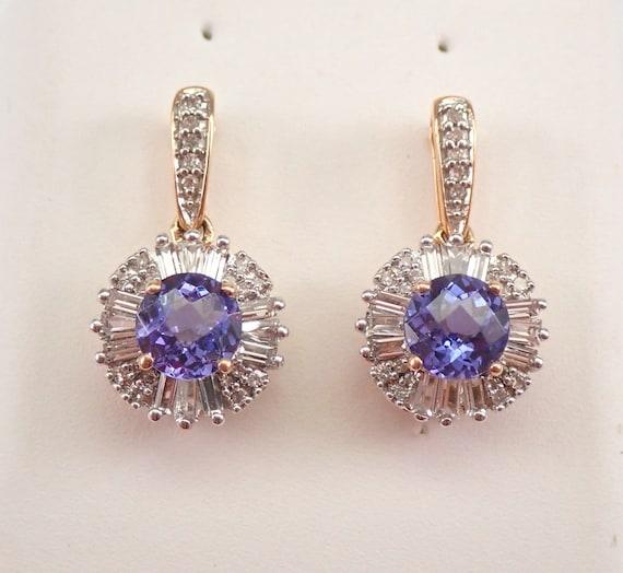 Unique Tanzanite and Diamond Dangle Halo Earrings Rose Gold December Birthday