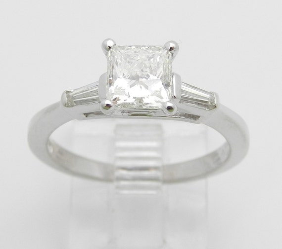 Diamond Engagement Ring, 1.16 ct Princess-Cut Diamond Engagement Ring, 14K White Gold Engagement Ring