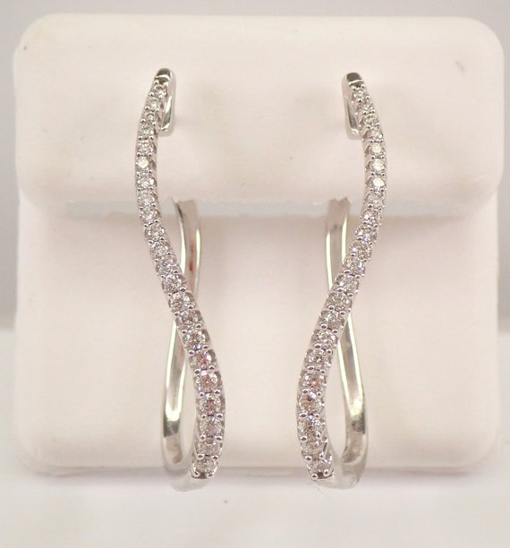 White Gold Diamond Hoop Earrings Diamond Hoops Unique Swirl Design