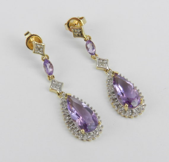 Amethyst and Diamond Dangle Drop Earrings Yellow Gold Wedding Earrings February Gemstone