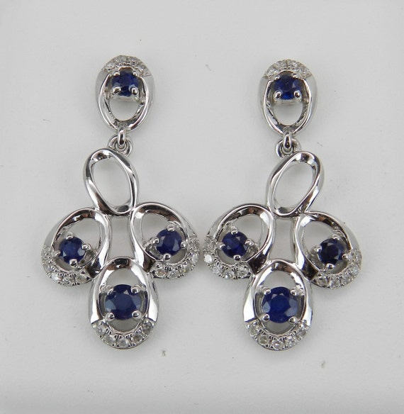 SALE, Sapphire Earrings, Sapphire and Diamond Earrings, 14K White Gold Earrings, Dangle Drop Wedding Earrings