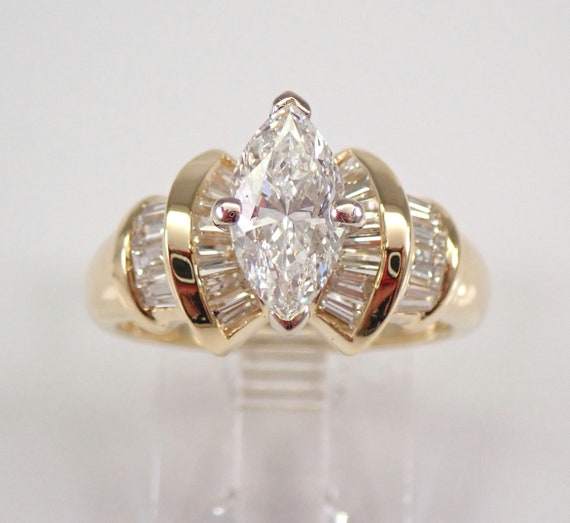 14K Yellow Gold 1.80 ct Marquise Brilliant Diamond Engagement Ring Size 6.5 FREE SIZING