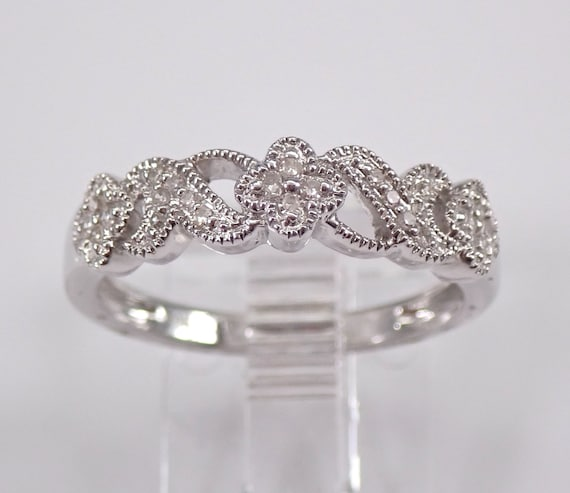 14K White Gold Diamond Flower Wedding Ring Floral Anniversary Band Stackable Size 7